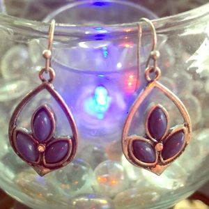 Jewelry - Silver and Blue Pear Shaped Dangle Earrings